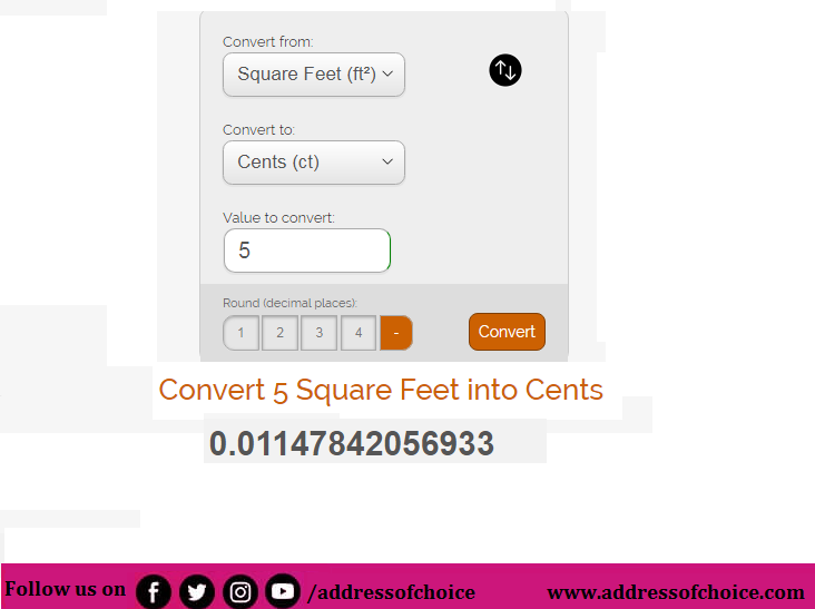 5 Cent Equal to How Many Square Feet - Cent to Square Feet Conversion