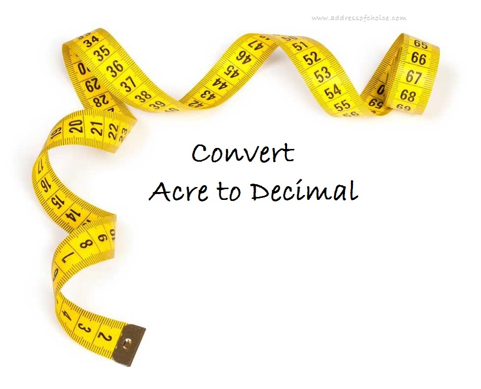 How to convert Acre to Decimal