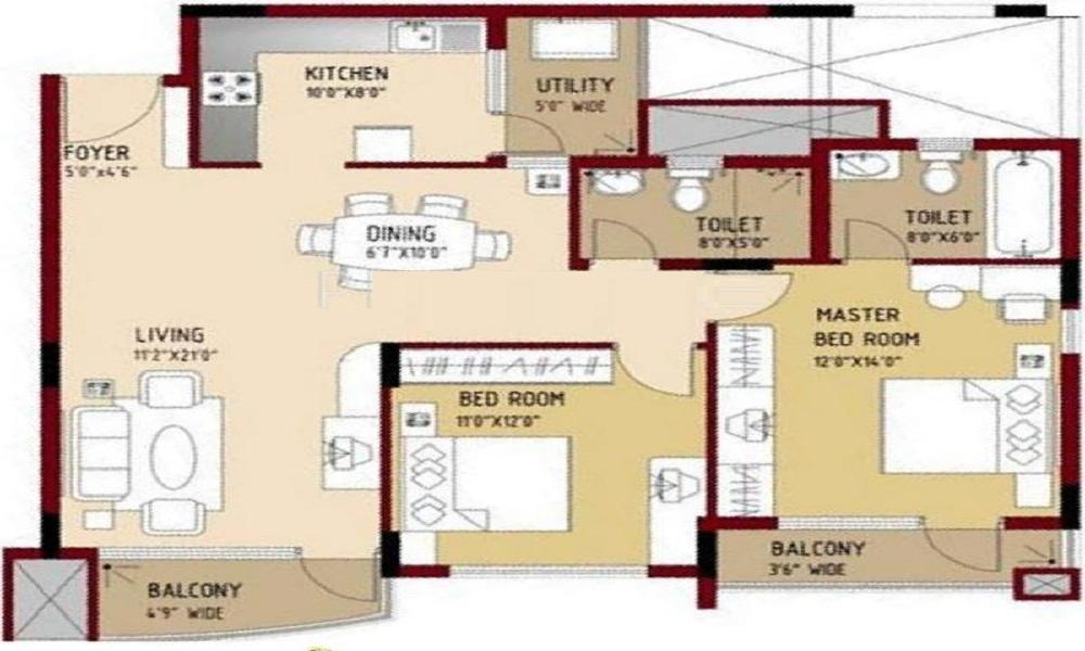 Puravankara Purva Swanlake Floor Plan