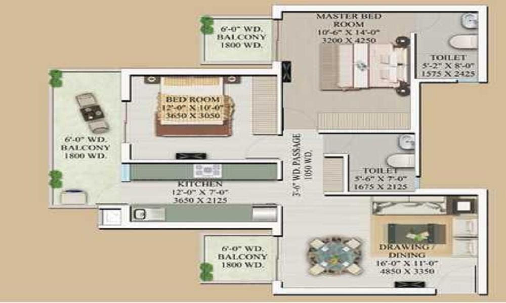 Supertech Hill Town Floor Plan