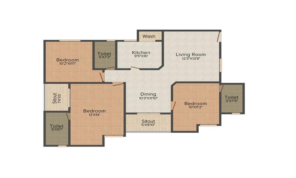Aarcity Krishna Apra Saphire Floor Plan