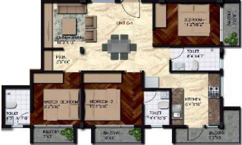 2 BHK+2T Apartment With Size 1000 Sqft For Sale In Govianu Crescent Nandini Layout Bangalore Floor Plan