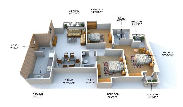 Nova Hamlet Krishnageet Apartments Floor Plan