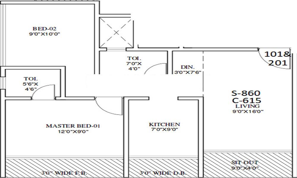 1 BHK+1T Apartment With Size 440/sqft-saleable Sqft For Sale In Manglam Group Vaishnavi Classic Palghar Mumbai Floor Plan