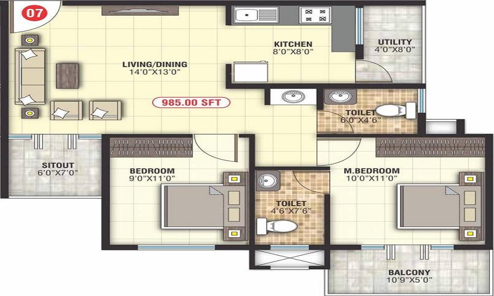Sai Vrushabadri Towers Floor Plan