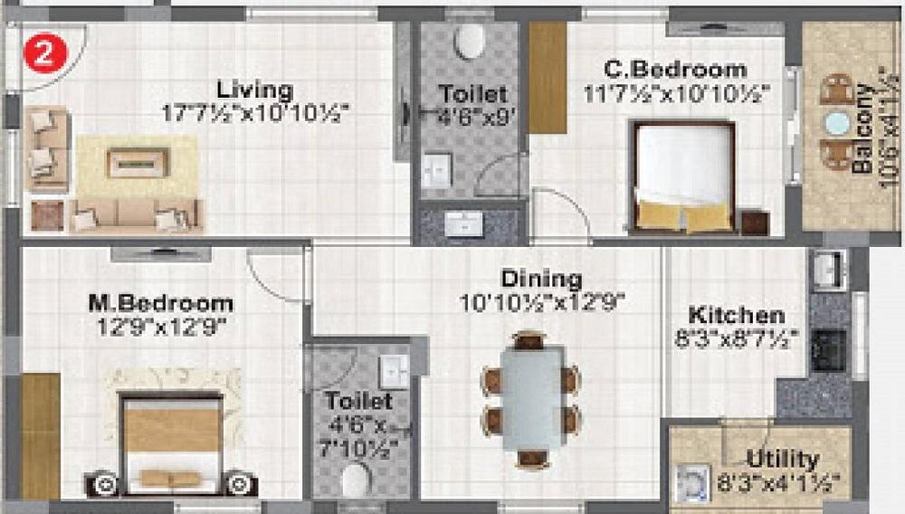 2 BHK+2T Apartment With Size 1165/sqft-carpet Sqft For Sale In Concrete Vivanta Miyapur Hyderabad Floor Plan