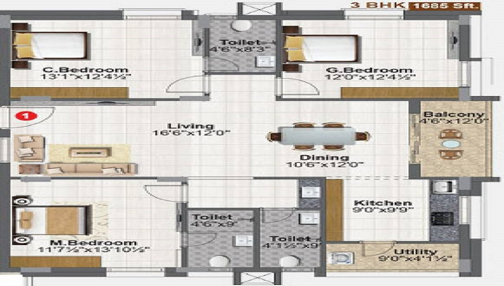 2 BHK+2T Apartment With Size 1220/sqft-carpet Sqft For Sale In Concrete Vivanta Miyapur Hyderabad Floor Plan