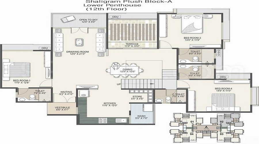 3 BHK+3T Apartment With Size 2133/sqft-saleable  Sqft For Sale In Shaligram Plush Thaltej Ahmedabad Floor Plan