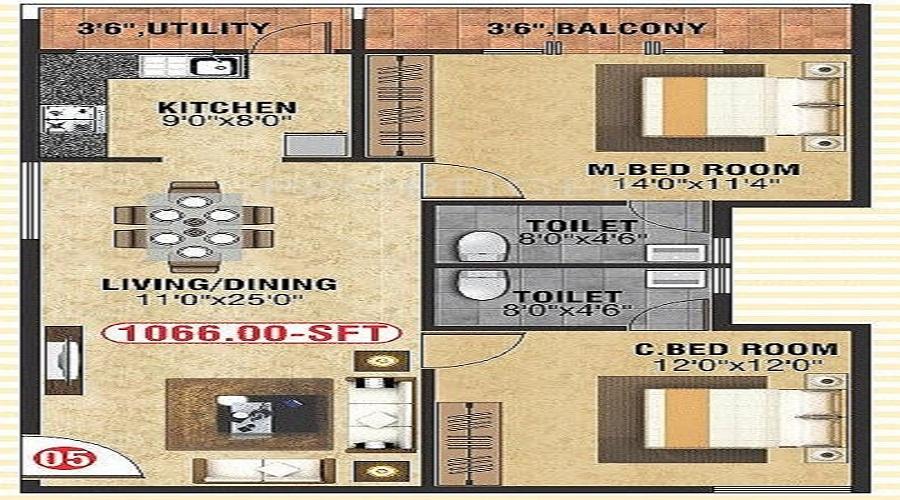 M N Builders And Developers Guru Gokulam Floor Plan