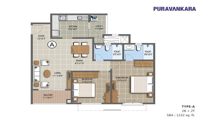 Puravankara Purva The Waves Floor Plan