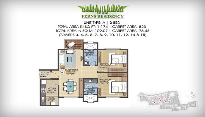 Prestige Ferns Residency Floor Plan