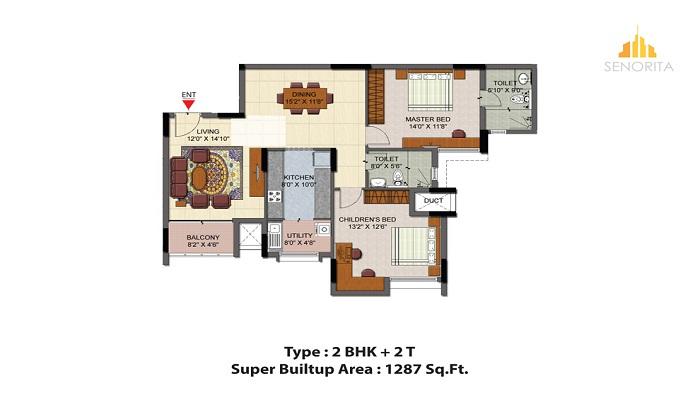 Salarpuria Senorita Floor Plan